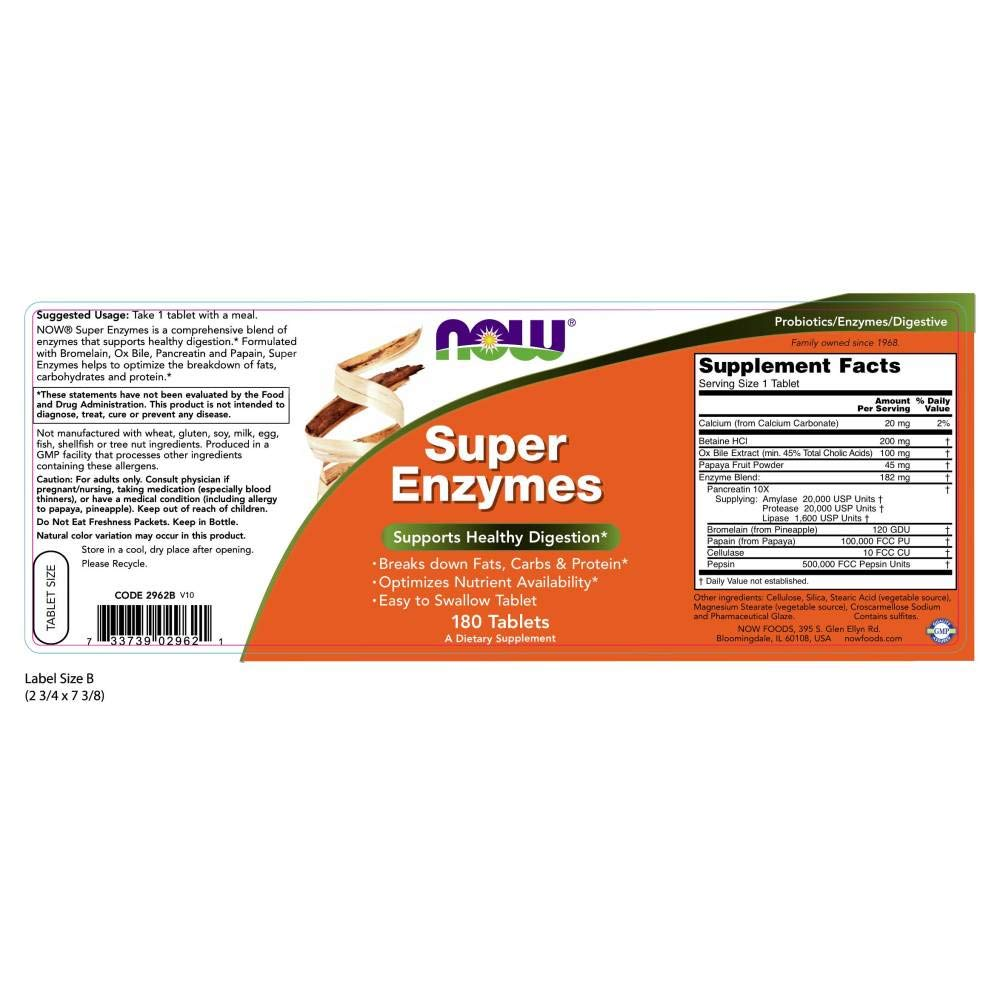 NOW Supplements, Super Enzymes, Formulated with Bromelain, Ox Bile, Pancreatin and Papain, Super Enzymes, 180 Count