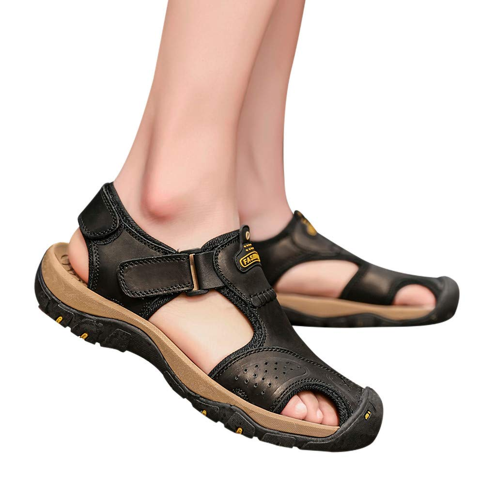 Summer Men's Sandals,Mens Fashion Leather Hiking Shoes Flats Slippers Beach Water Shoes Sport Sandals