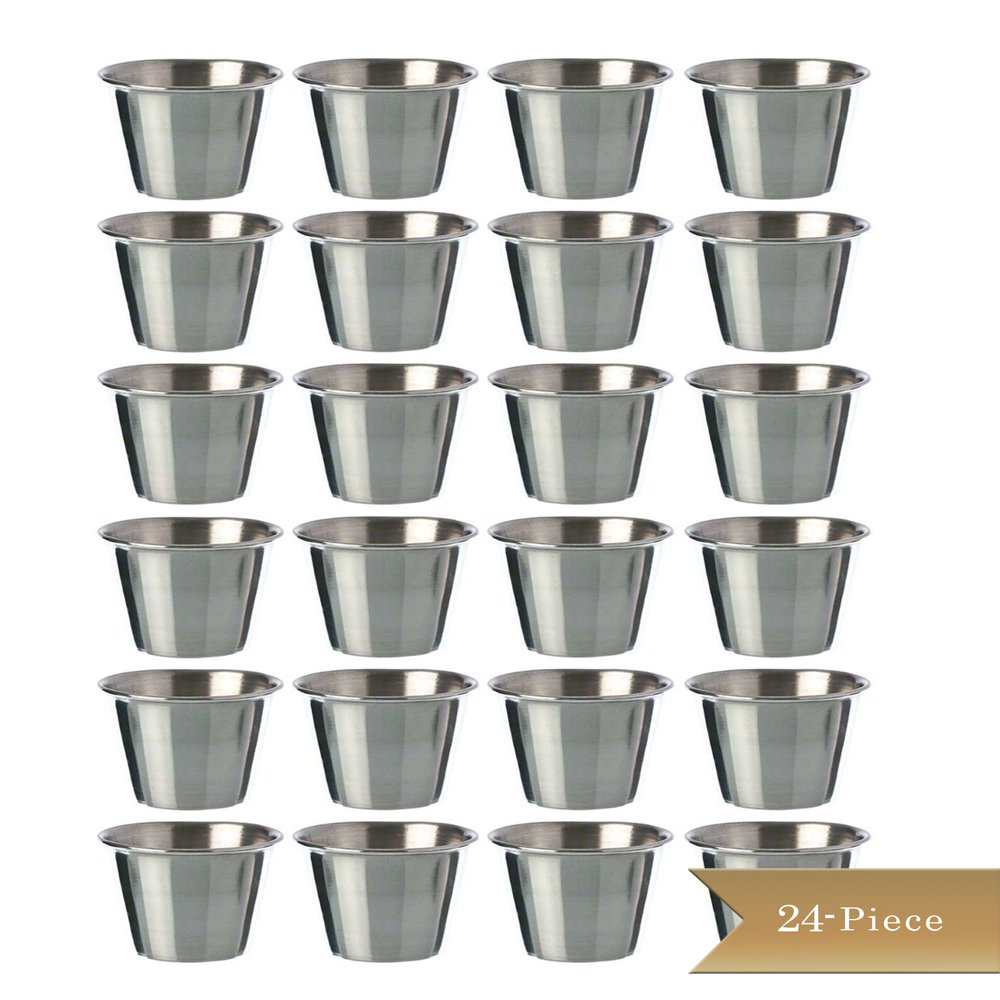 (Set of 24) TrueCraftware Stainless Steel, Individual Condiment Sauce Cup - 2 1/2 oz