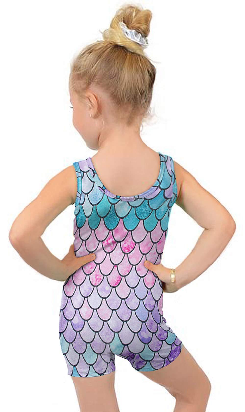 Toddler Girls Sparkly Leotards Green Pink Purple Mermaid Fish Scale 3t 4t Sleeveless Dancewear Clothes with Shorts Style Gymnastics Unitard Biketard for Kindergarten School