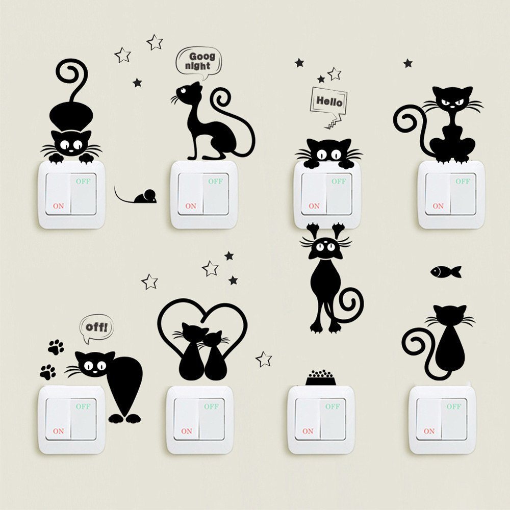 Adesivi murali forme gattini.