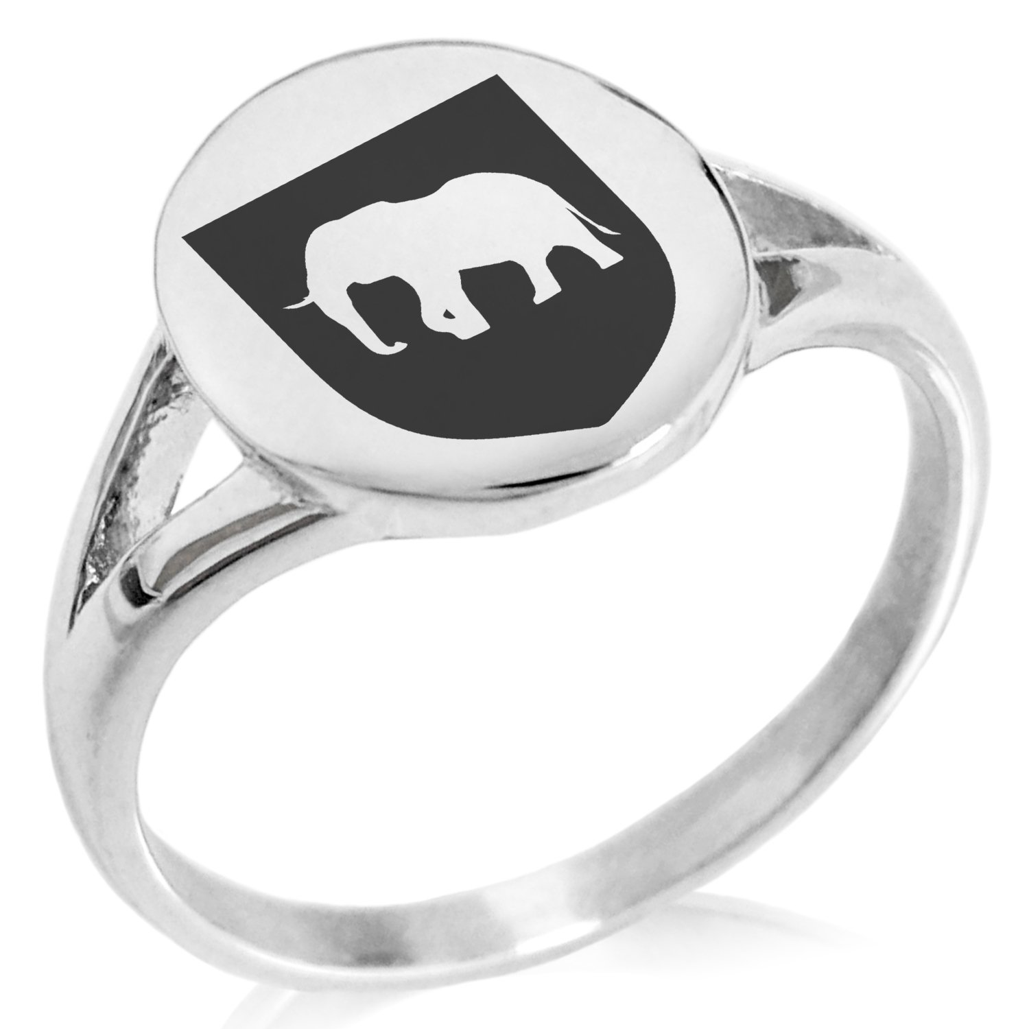 Tioneer Stainless Steel Elephant Strength Coat of Arms Shield Symbol Minimalist Oval Top Polished Statement Ring, Size 5