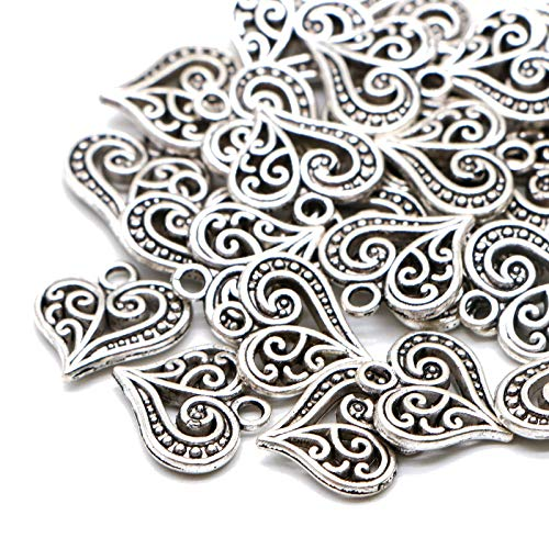WSSROGY 30 Pcs Silver Filigree Heart Charms Mixed Pendants Charms for Crafting Smooth Tibetan Silver Bulk Charms DIY for Jewelry Making