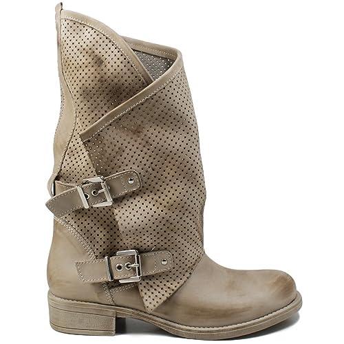 In Time Stivali Biker Boots Estivi Traforati Asimmetrici Morbidi Leggeri Donna 0369 Elefant MantraA Beige in Vera Pelle nabuk Made in