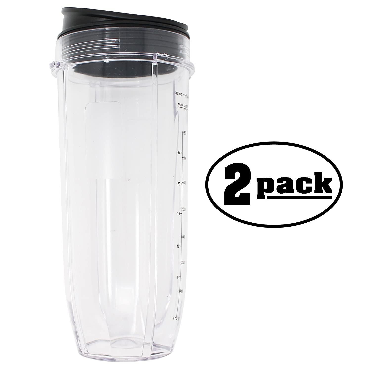 2-Pack Replacement for 32 oz Nutri Ninja Cup 407KKU641 Compatible with CT641 Nutri Ninja Intelli-Sense Blender Duo
