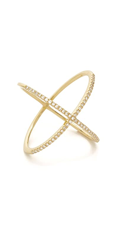 Amazon EF Collection 14k Gold Pave Gold Diamond X Ring Jewelry