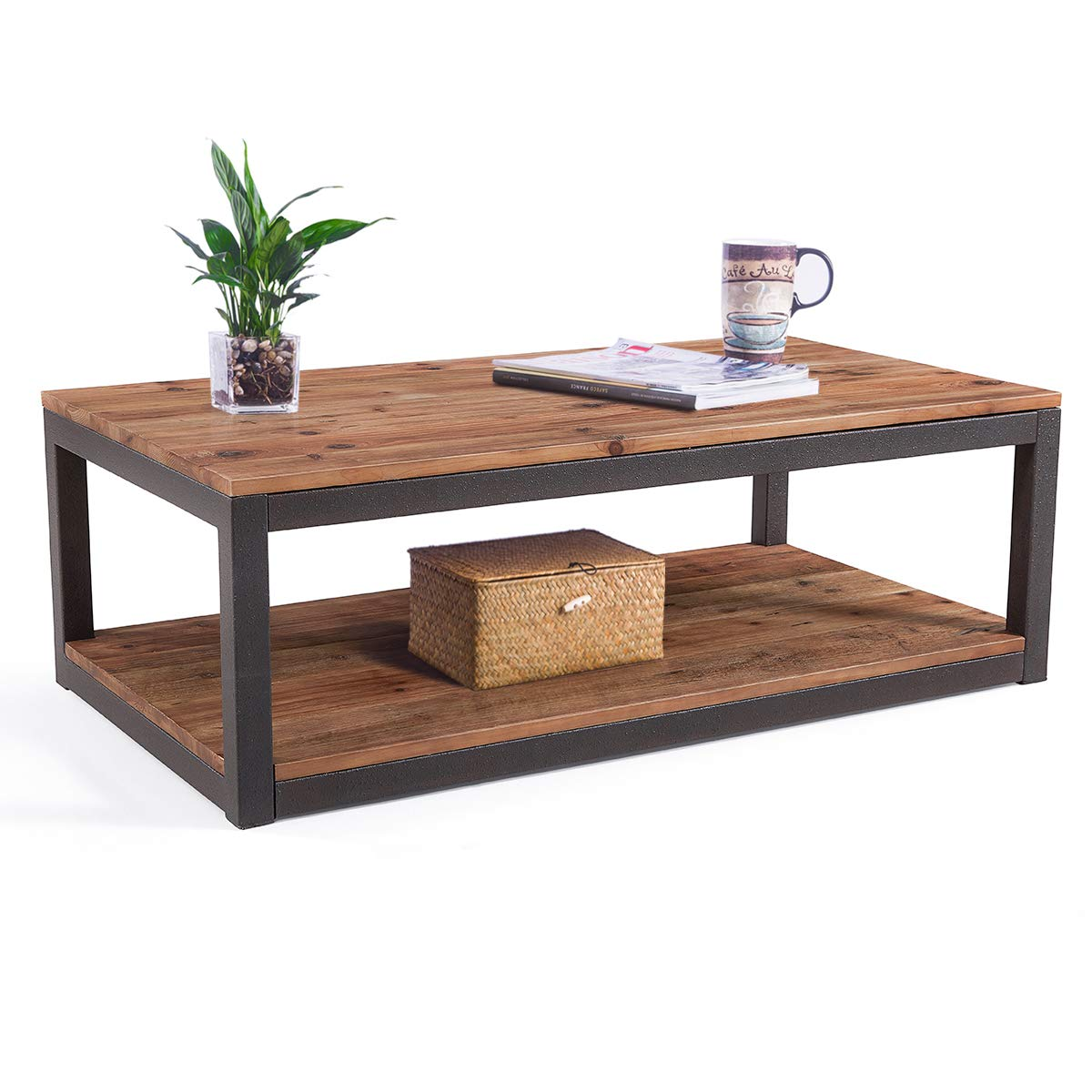Care Royal Vintage Industrial Farmhouse 43.3 inches Coffee Table with Storage Shelf for Living Room, Accent Cocktail Table, Natural Solid Reclaimed Wood, Sturdy Rustic Brown Metal Frame, Easy Assembly by Care Royal
