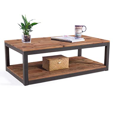 Care Royal Vintage Industrial Farmhouse 43.3  Coffee Table/Accent Cocktail Table with Storage Open Shelf for Living Room, Natural Solid Reclaimed Wood, Sturdy Rustic Brown Metal Frame, Easy Assembly