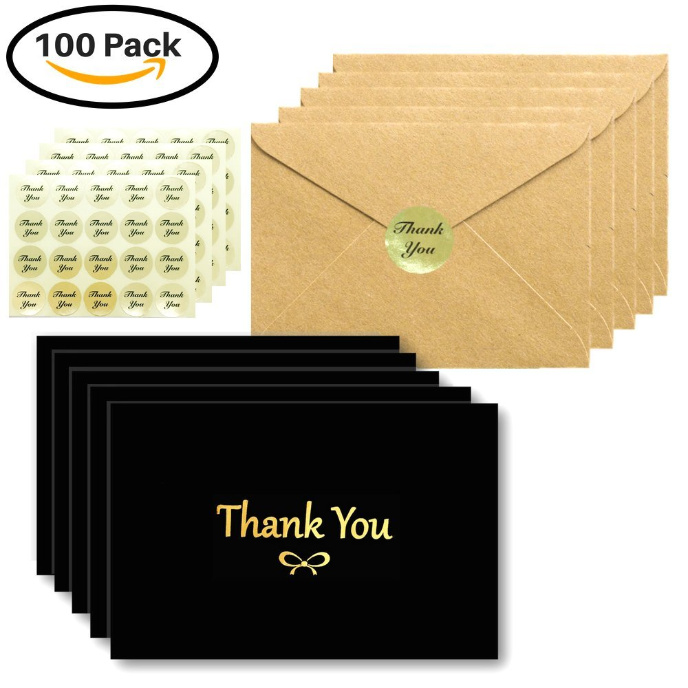 100 Thank You Cards Box Set With Gold Foil Embossed Designs | 4 x 6 Inches, Bulk Blank Note Cards With Envelopes and Gold Stickers | Perfect For Wedding, Graduation, Business and Sympathy (Black)