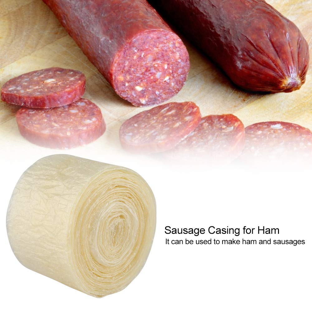 Sausage Casing for Sausage Maker Machine Hot Dog Casing 32MM/×3M 2-Layer Dry Meat Sausages Skins Casing for Flavorous Homemade Sausages Ham