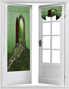 Blackout Door Curtain, d Rendering of a Fantasy Doorway Portal Framed by Green Vines Leading into a Idyllic Garde, 2 Panel-26