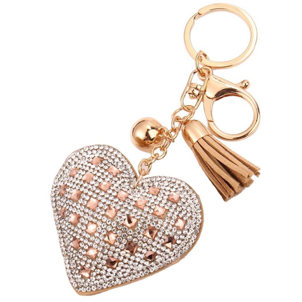 SUPPION Love Rhinestone Tassel Keychain Women Hand bag Jewelry Key Ring Car Key chain