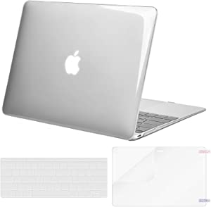 MOSISO Plastic Hard Shell Case & Keyboard Cover Skin & Screen Protector Compatible with MacBook 12 inch with Retina Display (Model A1534, Release 2017 2016 2015), Crystal Clear