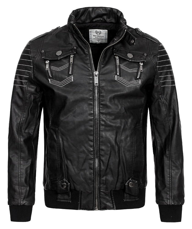 Red Bridge Men's Jackets, Biker Leather Winter R41479 (L, Black)