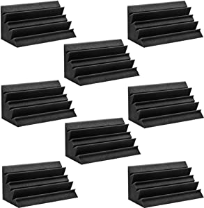 BEIYIN 8/Pack Acoustic Corner Bass Trap Foam Sound Treatment Soundproof Sound Absorption Panels for Recording Studio Home Theatre (Black)