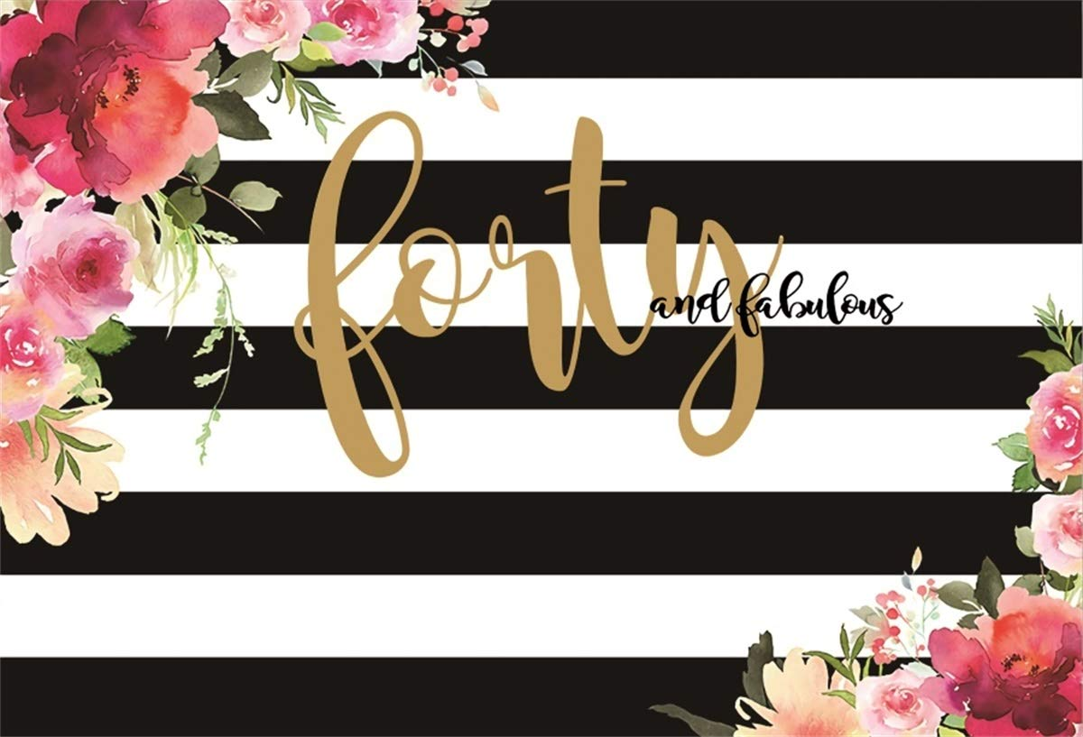 YEELE Happy 40th Birthday Backdrop 8x6ft Fabulous Black and White Stripes Photography Background Lady Madam Mother Portrait Birthday Banner Lady Acting Show Banner Photo Booth Props Wallpaper