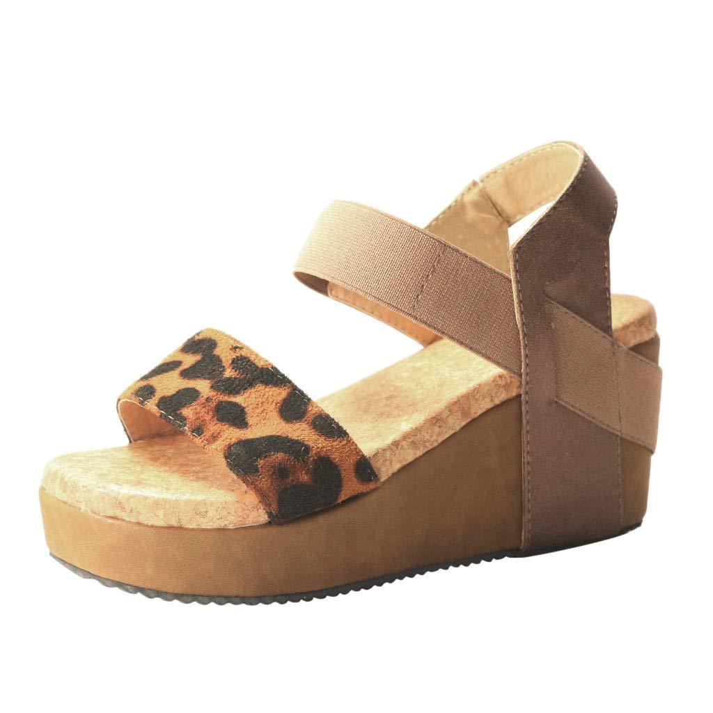 Women Platform Wedge Sandals, Leopard Open Toe Ankle Elastic Band Roman Sandal Double Layer Thick Bottom Shoes (43 US9, Khaki) by TTINAF