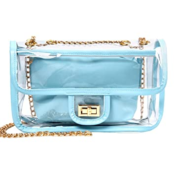 247d8db22c7c Clear Purse, iSPECLE Stadium Approved Clear Bag with Chain Turn Lock  Shoulder Bags Transparent Women Crossbody Bag Baby Blue