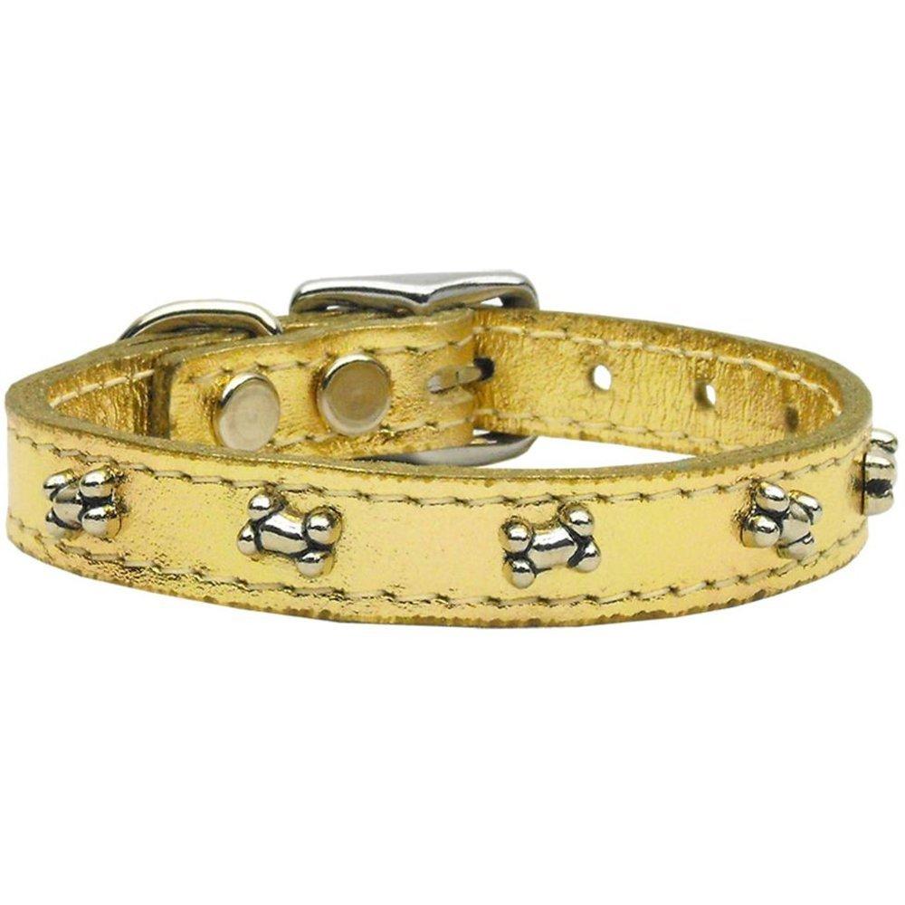 20\ Mirage Pet Products Metallic Bone Leather gold Dog Collar, 20