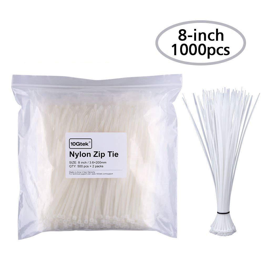 Zip Ties 1000pcs Self Locking 8 Inch Nylon Cable Ties in White