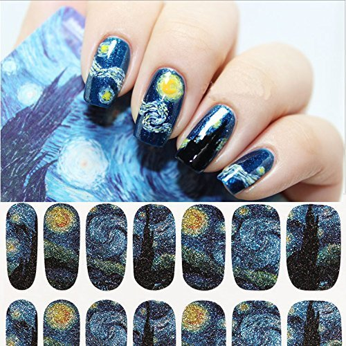 Born Wrap (BORN PRETTY 1 Sheet Nail Wraps Mysterious Starry Sky Night Patterned Full Nail Sticker)