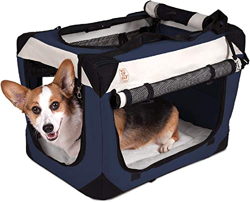 PetLuv Tuf-Crate Premium Soft Dog Crate Foldable Top Side Loading Pet Carrier Travel Crate – Locking Zippers Shoulder Straps Seat Belt Lock Nap Pillow Reduces Anxiety