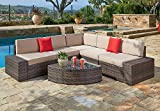 Cheap Suncrown Outdoor Furniture Sectional Sofa & Wedge Table (6-Piece Set) All-Weather Brown Wicker with Washable Seat Cushions & Modern Glass Coffee Table | Patio, Backyard, Pool | Incl. Waterproof Cover