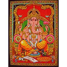 "hindu elephant god ganesha ganesh sequin wall hanging tapestry decor 31"" x 41"" red"