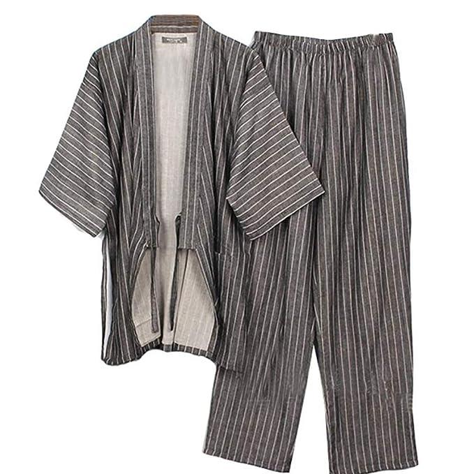 Fancy Pumpkin Trajes de Estilo japonés para Hombre Trajes de Pijamas de algodón Puro de Pijama Juego de Vestir