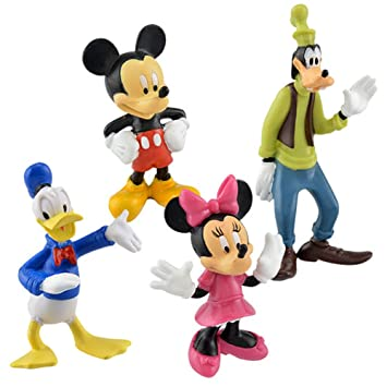 Disney Classic Plastic Figurines 3 Mickey Mouse Minnie Donald Duck And Goofy