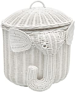 Kouboo 1060103 Rattan Elephant Storage Basket, White