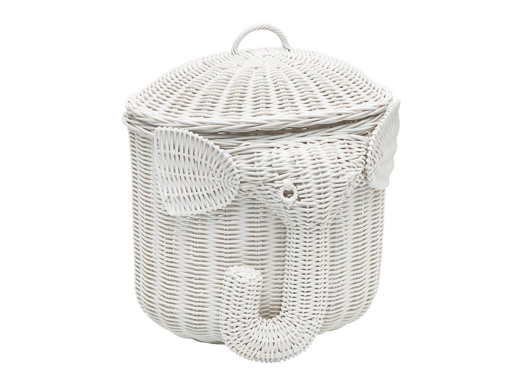 Kouboo 1060103 Rattan Elephant Storage Basket, White by Kouboo