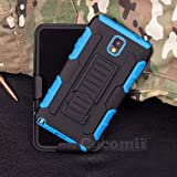 Galaxy Note 3 Case, Cocomii Robot Armor NEW [Heavy Duty] Premium Belt Clip Holster Kickstand Shockproof Hard Bumper Shell [Military Defender] Full Body Dual Layer Rugged Cover Samsung N9000 N9005 (Blue)