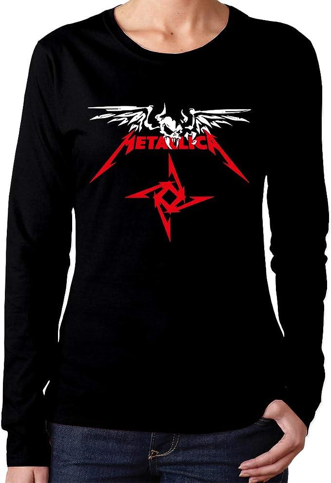 Sadfqw Metallica - Camiseta de Manga Larga con Logo de Calavera y Banda de Metal para Mujer, Cuello Redondo: Amazon.es: Deportes y aire libre
