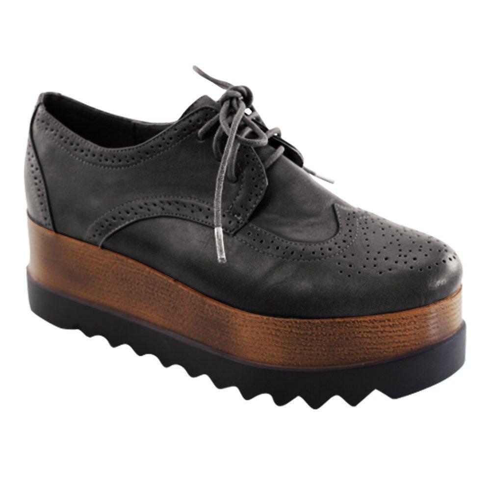 Best Classic Black Platform Wedge Shoe Oxford Style Vegan Leather Round Toe Lace up Saddle Designer Fashion Ladies Fall Fashion Uniform Sneaker Clearance Sale 2018 for Women Teen Girl (Size 6, Black)