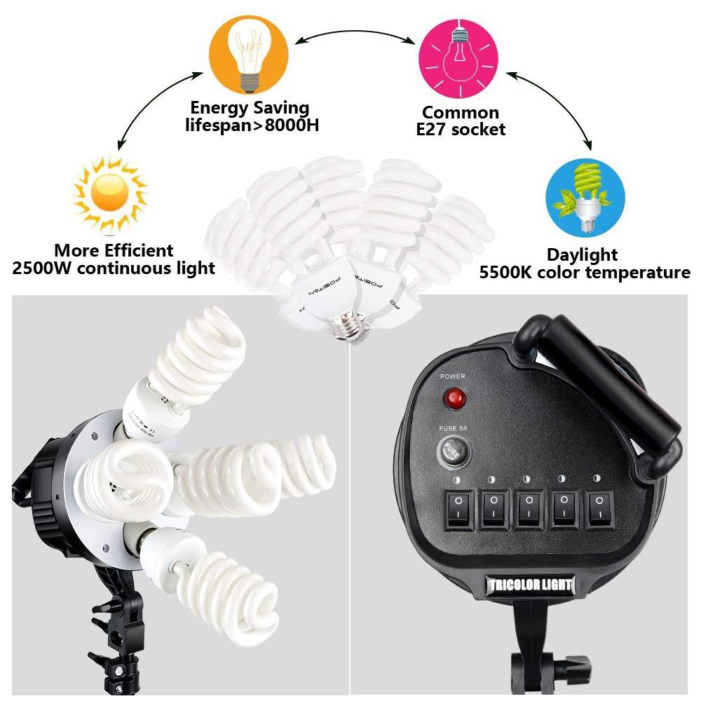 FOSITAN 3X 20'' x 28''Softbox Photography Lighting Kit, Boom Arm Headlight Lighting Kit with Sandbag, 2500W Continuous Lighting Kit with 2M Light Stand, Studio Lighting Kit with 11pcs Bulbs by FOSITAN (Image #3)