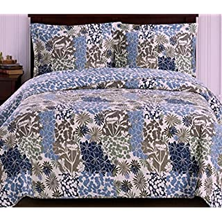 Finely Stitched Coverlet Quilt Sham Set Twin/Xl Twin Size Extra Long Single  Bed Blue
