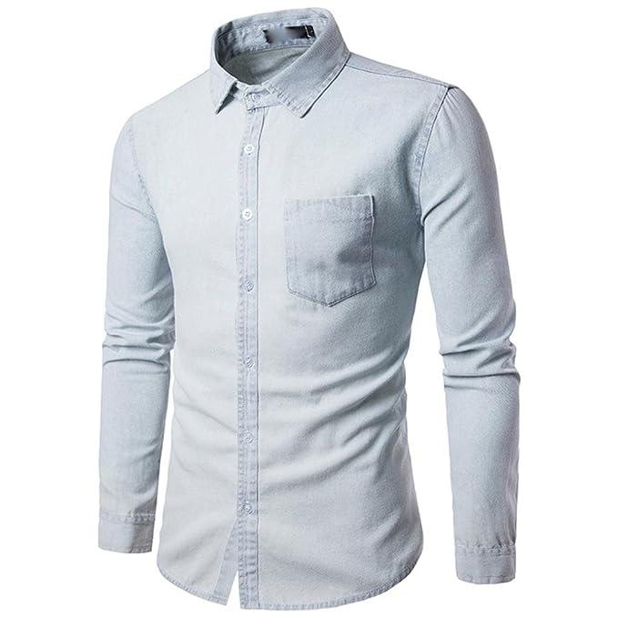 b28da06410e9b LMMVP Camisa de Hombre Moda Personalidad Manga Larga Ajustado Clásico  Occidental Blue Denim Básica Botón Vaquero