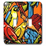 3dRose lsp_63041_2 Parrots and Tropical Bird Pattern Light Switch Cover