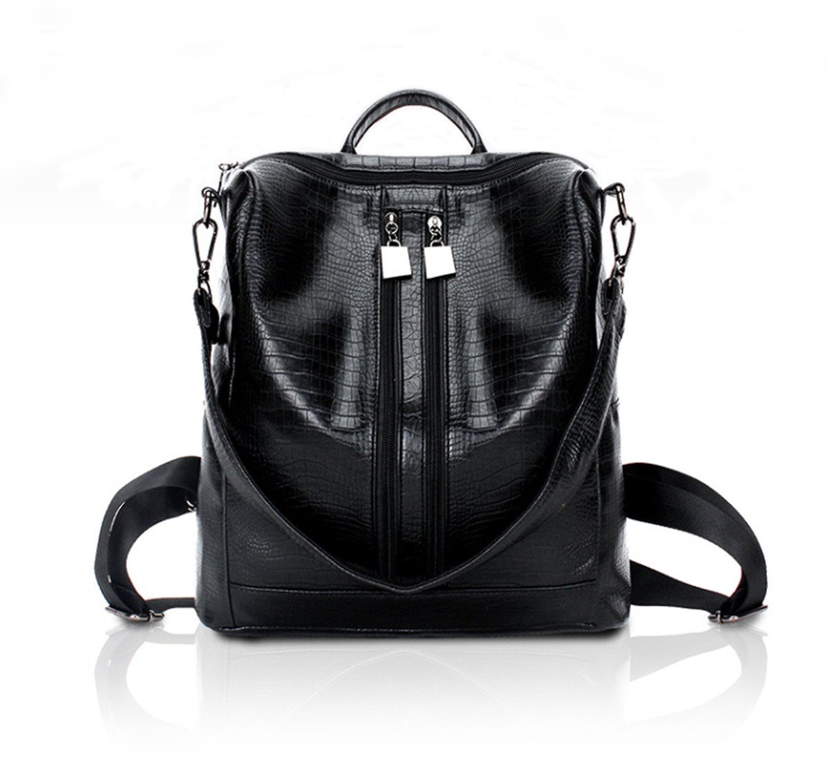 Fashion Backpack for Women Rucksack PU Leather Black Shoulder Bags Purses for Ladies Tote Bags
