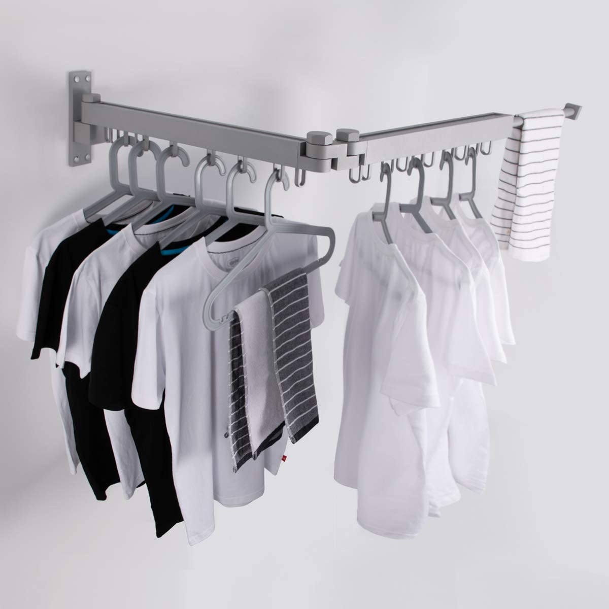 BENOSS Wall Mounted Clothes Drying Rack, Collapsible and Retractable Laundry Garment Hanger for Daily Clothes, Space Saver Hangers, Easy to Install, for Balcony, Laundry, Bathroom and Bedroom (Silver)