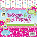 Die Cuts DCWV Glittered and Foiled, Blossoms and Butterflies, 48 Sheets, 12 x 12 inches