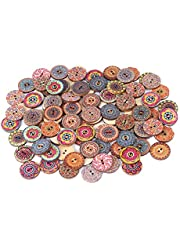 100 Pcs 20mm Mixed Pattern Vintage Wood Buttons with Mandala Printing 2 Holes for Sewing Buttons Handmade Scrapbooking DIY Decor Craft Accessories