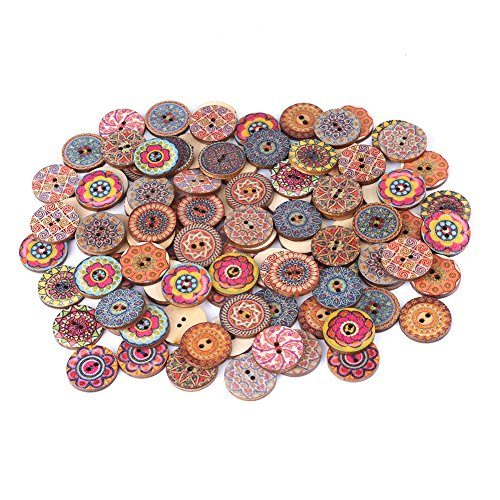 Decorative Buttons for Crafts 1 inch,100Pcs Vintage Wood Buttons with 2 Holes for DIY Sewing Craft Decorative,Mixed Pattern (20mm)