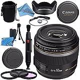 Canon EF-S 60mm f/2.8 Macro USM Lens 0284B002 + 52mm 3 Piece Filter Kit + Lens Cleaning Kit + Lens Pouch + Lens Pen Cleaner + 52mm Tulip Lens Hood + Fibercloth Bundle