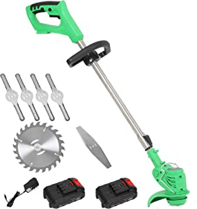 Roeam Electric Grass Trimmer Edger Lawn Mower 21V 3000mAh Lithium-Ion Cordless Weed Brush Cutter Kit Pruning Cutter Garden Tools US Plug with Replace Blade