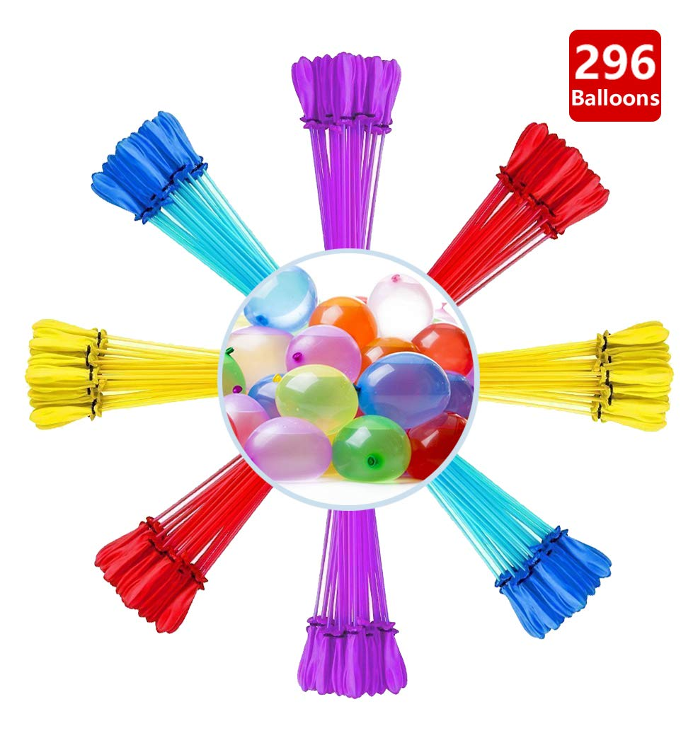 bueyu Bunny Water Balloons, Instant Quick Fill Water Balloons-8 Bunches Total 296 Multi-Color Water Balloons, Summer Splash Fun for Kids & Adults