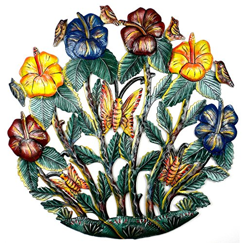 "Global Crafts 24"" Recycled Hand-Painted Haitian Metal Wall Art Home Décor, Painted Flower Garden from Global Crafts"