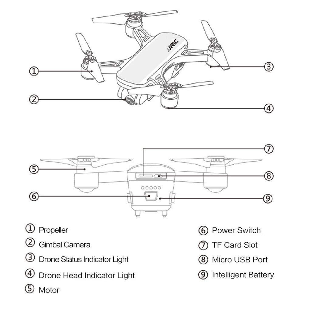 Blanco C Heron X9 GPS 5G WiFi FPV RC Aviones no tripulados 1080P HD c/ámara Quadcopter RTF WULEI JJR