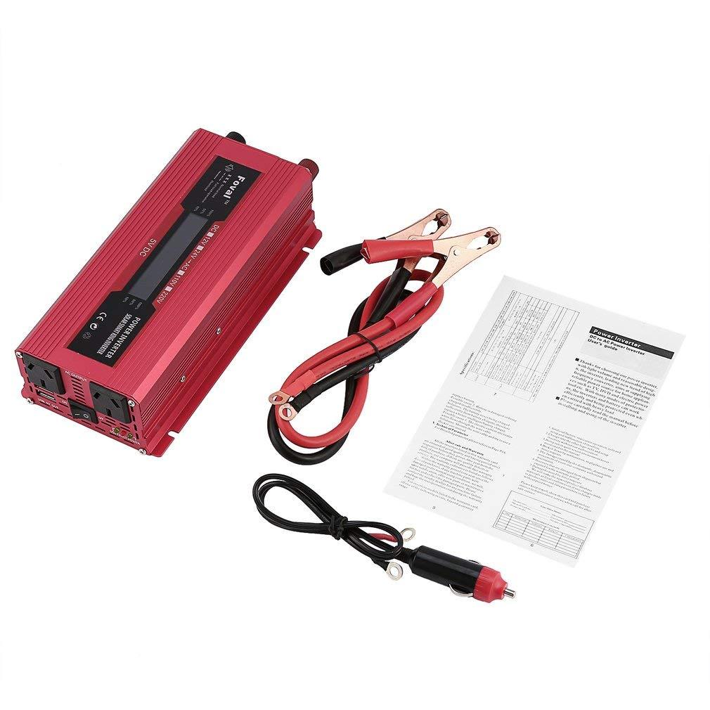 FDBF Car Solar Power Inverdeer DC 12 24V to AC 220V Modified Sine Wave Converdeer Red